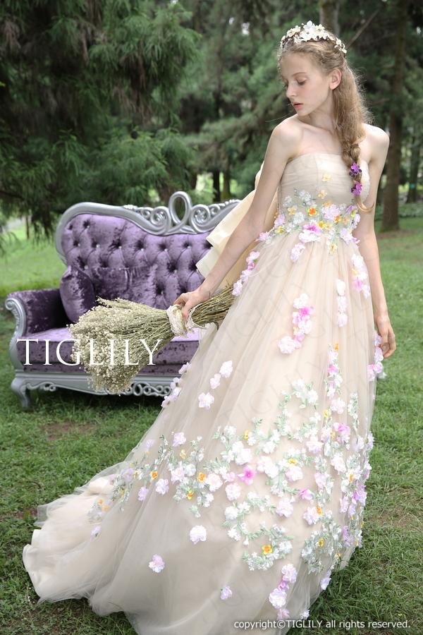 TIGLILY カラードレス Aライン シャンパン c125