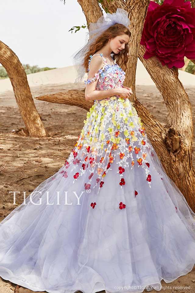 TIGLILY カラードレス フラワードレスc181
