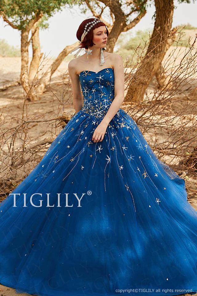 TIGLILY カラードレスc191 夜空に浮かぶ満天の星をイメージしたミッドナイトブルーのカラードレス。