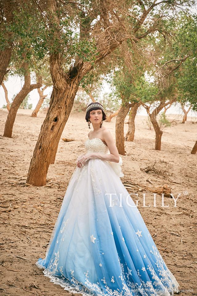 TIGLILY カラードレス Aライン こぼれ落ちるほどの星モチーフと美しいブルーのグラデーションが印象的なドレス。w324