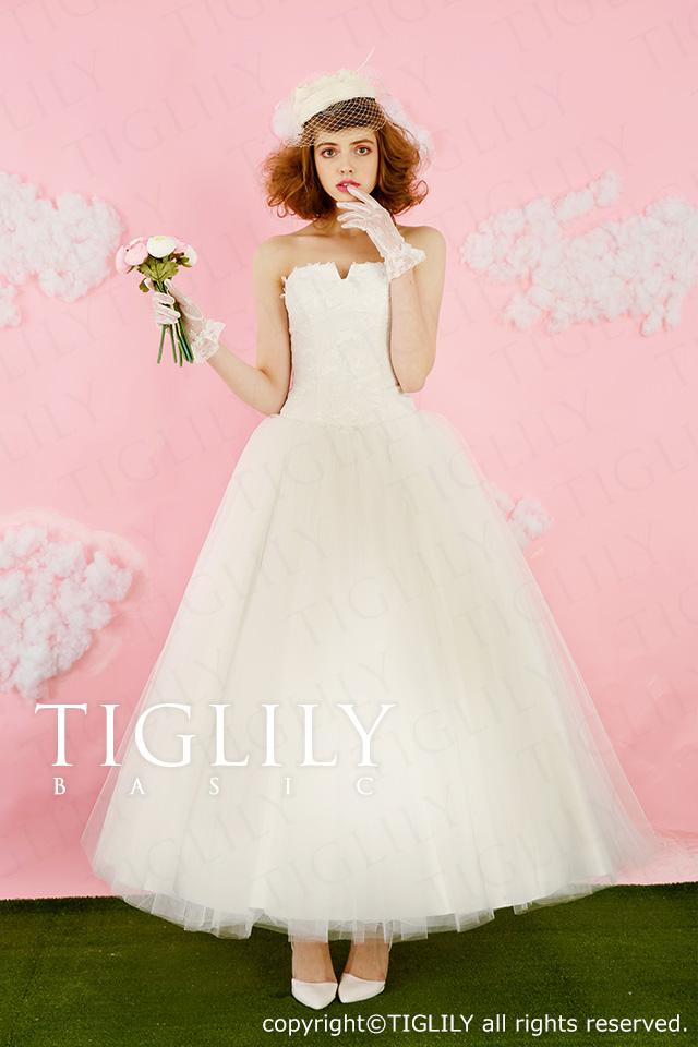 TIGLILY BASIC ミモレ丈ホワイトドレス wb002
