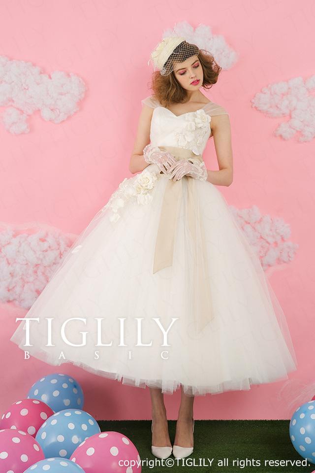 TIGLILY basic ミモレ丈ドレス wb008